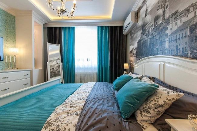 Коричневые и голубые шторы в спальне, шторы в спальню современные идеи
